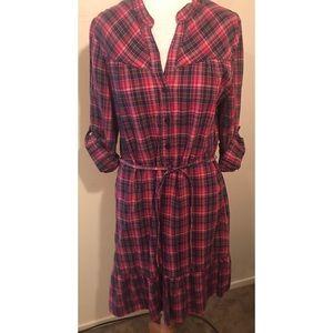 H&M LOGG Red Plaid Ruffle Hem Tie Waist Dress 10